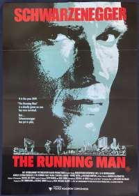The Running Man Poster Original One Sheet 1987 Arnold Schwarzenegger Sharon Stone