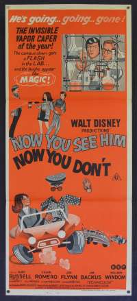 Now You See Him Now You Don't Movie Poster Original Daybill Kurt Russell Red Art