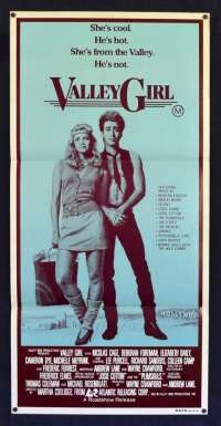 Valley Girl 1983 Movie Poster Daybill RARE Nicolas Cage 80's Music