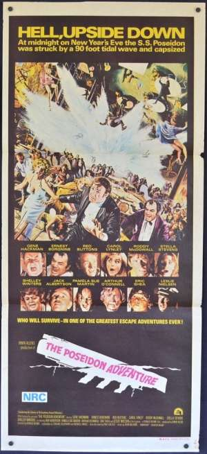 The Poseidon Adventure 1972 Daybill Movie Poster Gene Hackman Ernest Borgnine