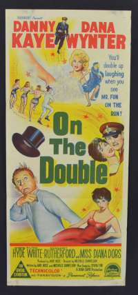 On The Double 1961 movie poster Daybill Stone Litho Danny Kaye Diana Doors