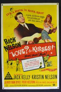 Love & Kisses 1965 One Sheet Movie Poster Ricky Nelson Guitar Rock N Roll