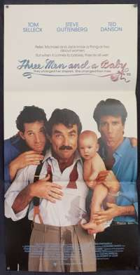 Three Men And A Baby Daybill Poster Original Near Mint 1987 Tom Selleck Ted Danson