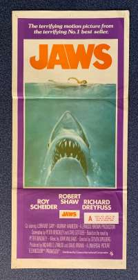 Jaws Poster Original Daybill 1975 First Release Robert Shaw Shark