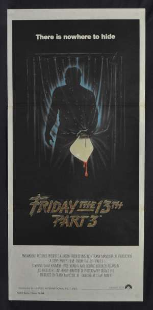 Friday The 13th Part 3 Movie Poster Original Daybill 1982 Slasher Jason