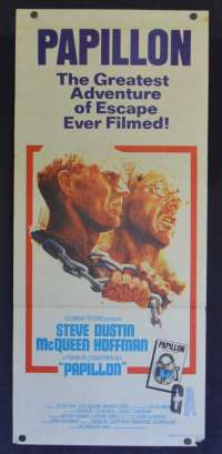 Papillon 1973 Daybill movie poster First Release Steve McQueen Dustin Hoffman