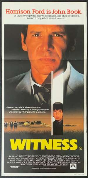 Witness Daybill Movie Poster Original 1985 Harrison Ford Kelly McGillis