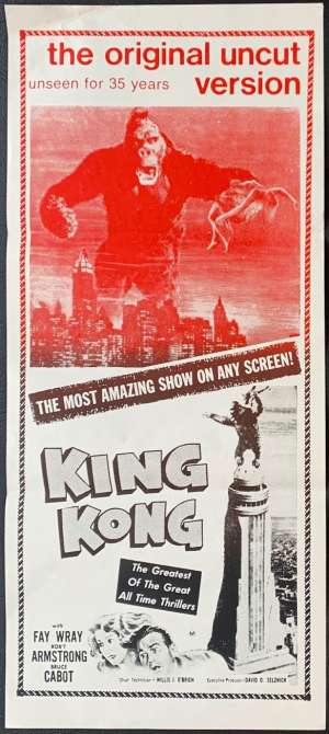 King Kong Poster Original Daybill Rare 1968 Re-Issue Fay Wray Ape Art