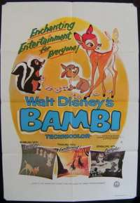 Bambi Poster Original One Sheet 1979 Re-Issue Disney Thumper Deer