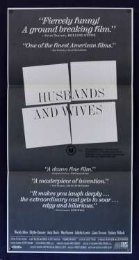 Husbands And Wives Poster Daybill Original 1992 Woody Allen Mia Farrow Judy Davis