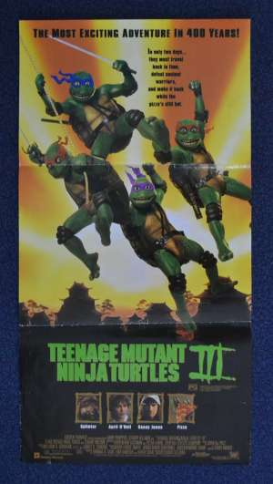 Teenage Mutant Ninja Turtles III 1993 movie poster rare Daybill