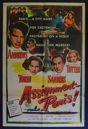 Assignment Paris Movie Poster Original USA One Sheet Film Noir Dana Andrews George Sanders