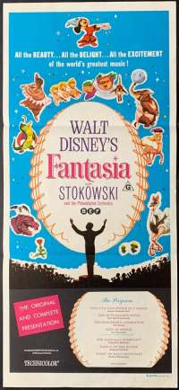 Fantasia 1940 Daybill movie poster 1963 Re-Issue Disney Leopold Stokowski