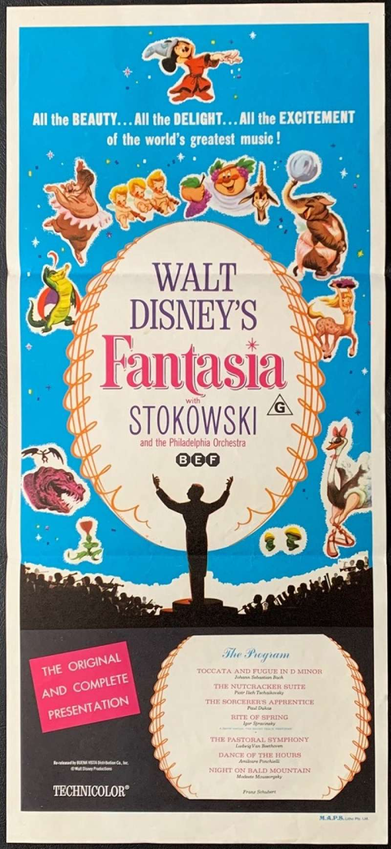 All About Movies Fantasia Movie Poster Original Daybill 1963 Re Issue Disney