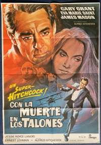 North By Northwest Poster Original Spanish One Sheet 1980 Re-Issue Hitchcock