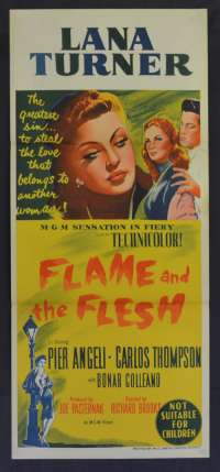Flame And The Flesh 1954 movie poster Daybill stone litho Lana Turner MGM