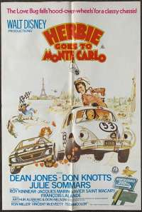 Herbie Goes To Monte Carlo Poster Original One Sheet 1977 Dean Jones Love Bug