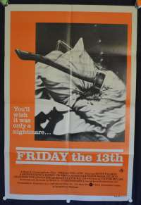 Friday The 13th Poster 1980 One Sheet Movie Poster Kevin Bacon Betsy Palmer