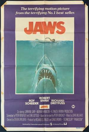 Jaws Poster Original One Sheet 1975 First Release Robert Shaw Shark