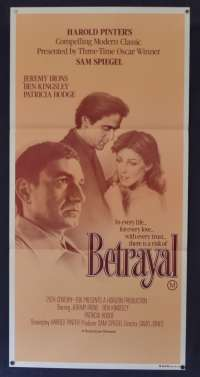 Betrayal Movie Poster Original Daybill 1983 Jeremy Irons Ben Kingsley Patricia Hodge