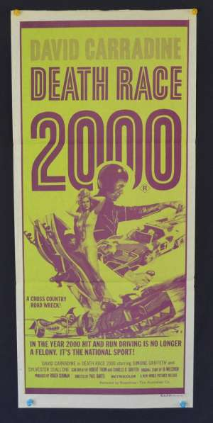 Death Race 2000 Poster Original Daybill 1975 David Carradine Sylvester Stallone