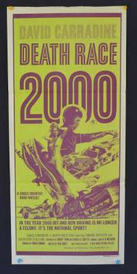 Death Race 2000 1975 Daybill movie poster car chase David Carradine Sylvester Stallone.