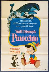 Pinocchio Movie Poster Original One Sheet Disney 1982 Re-Issue
