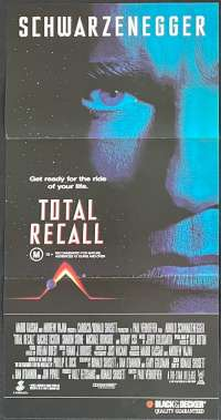Total Recall Movie Poster Original Daybill Arnold Schwarzenegger Sharon Stone