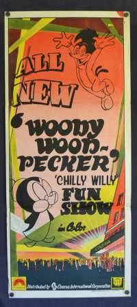 Woody Wood Pecker Chilly Willy Fun Show Poster Original Daybill 1970's CIC Comedy