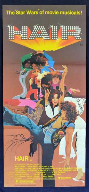 Hair Poster Original Daybill 1979 Milos Foreman Treat Williams Beverly D'Angelo
