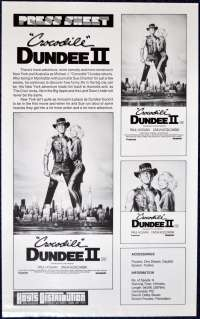 Crocodile Dundee II 1988 Movie Press Sheet Paul Hogan Linda Kozlowski