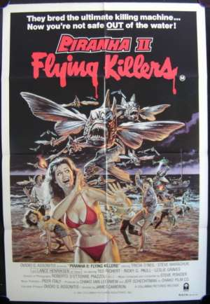 Piranha II Flying Killers Movie Poster Original One Sheet 1981 James Cameron
