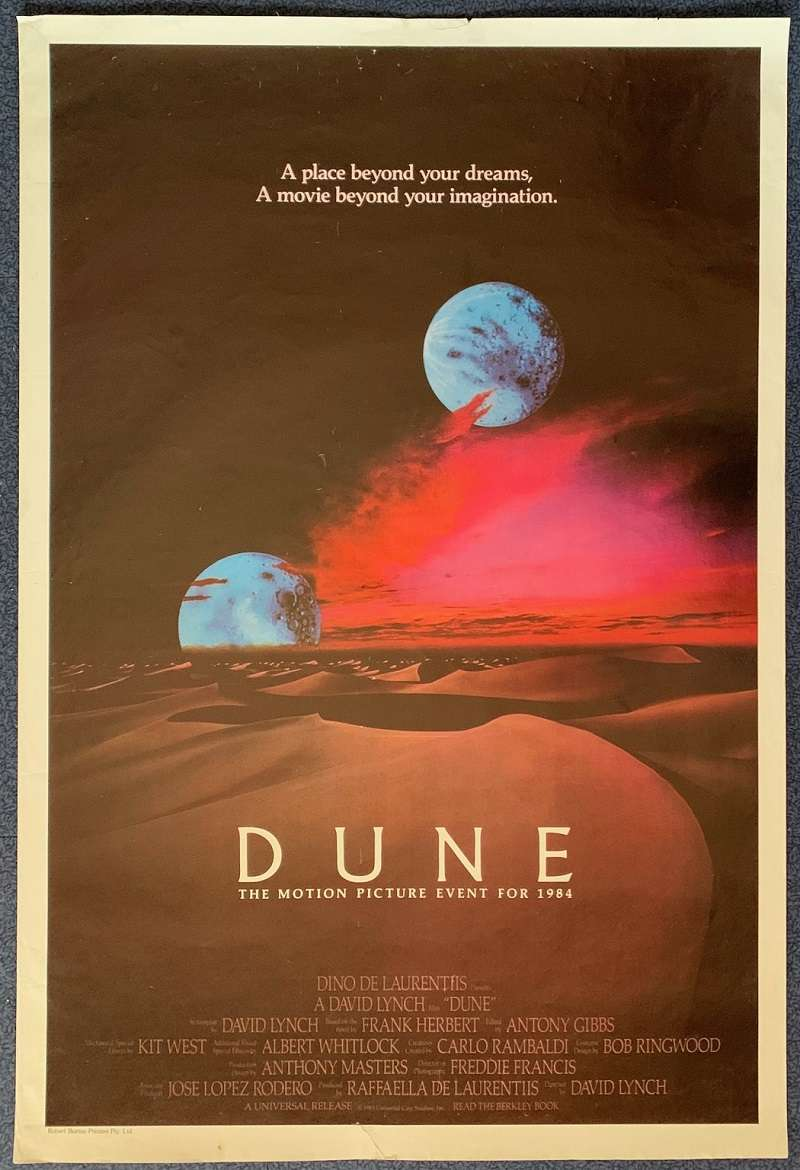 All About Movies Dune Poster Original One Sheet 1984 Rare Two Moon Art David Lynch Sting