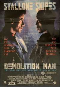 Demolition Man Poster Original One Sheet 1993 Sylvester Stallone Wesley Snipes