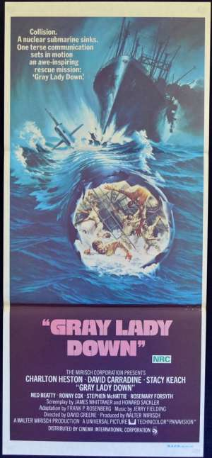 Gray Lady Down Movie Poster Daybill Charlton Heston Submarine Rescue