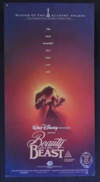 Beauty And The Beast Movie Poster Original Rare Daybill 1991 Disney