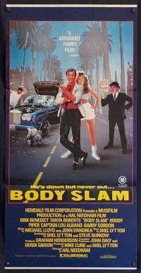 Body Slam 1987 movie poster Daybill Dirk Benedict Tanya Roberts