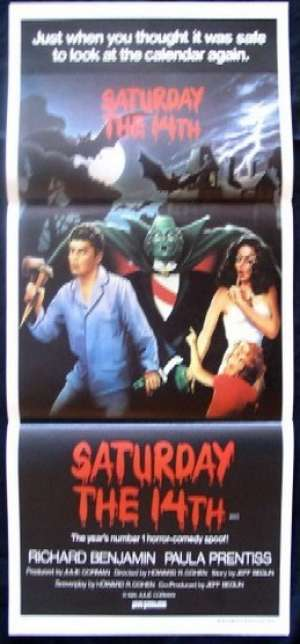 Saturday The 14th Poster Original Daybill 1981 Paula Prentiss Horror Spoof