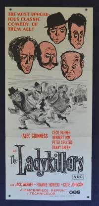 The Ladykillers 1955 Daybill Movie poster 1972 Re-Issue Alec Guinness Herbert Lom Peter Sellers