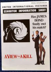 A View To A Kill 1985 Exhibitor Information Booklet James Bond Roger Moore