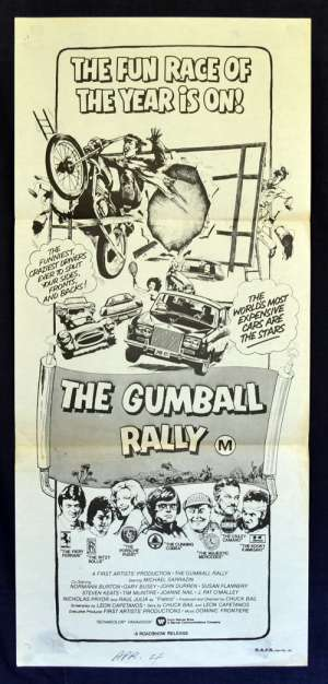 The Gumball Rally poster Daybill Michael Sarrazin Gary Busey Car Chase
