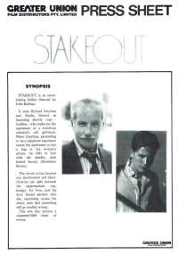 Stakeout 1987 Movie Press Sheet Richard Dreyfuss Emilio Estevez