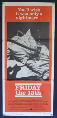 Friday The 13th 1980 Daybill movie poster Kevin Bacon Betsy Palmer