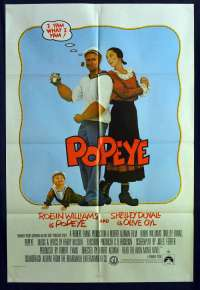 Popeye 1980 One Sheet Movie Poster Robin Williams Shelly Duvall Robert Altman