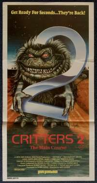 Critters 2 The Main Course Poster Original Daybill 1988 Scott Grimes Soyka Art