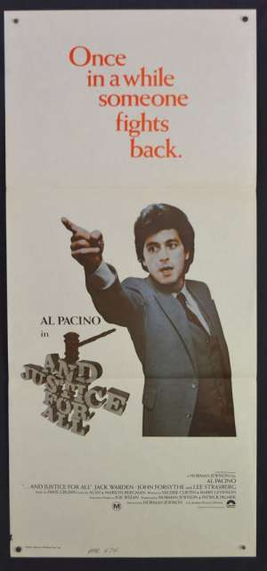 And Justice For All Movie Poster Original Daybill 1979 Al Pacino Norman Jewison