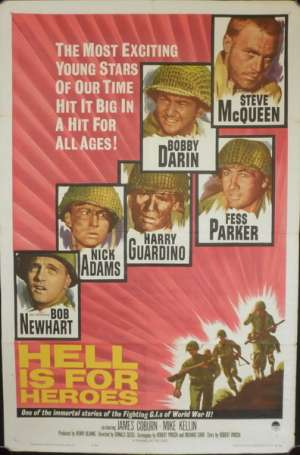 Hell Is For Heroes One Sheet Poster Original Steve McQueen Fess Parker