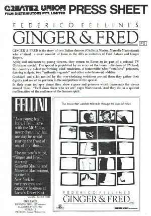 Ginger & Fred 1986 Movie Press Sheet Federico Fellini Marcello Mastroianni