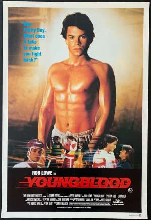 Youngblood Poster Original One Sheet 1986 Rob Lowe Patrick Swayze Ice Hockey