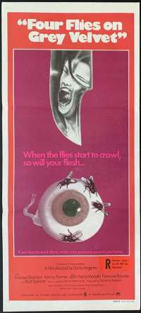 Four Flies On Grey Velvet Daybill Poster Original 1971 Dario Agento Horror